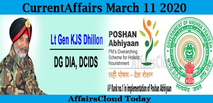 Current Affairs March 11 2020