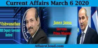 Current Affairs March 6 2020