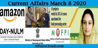 Current Affairs march 8 2020