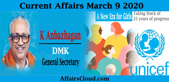 Current Affairs march 9 2020