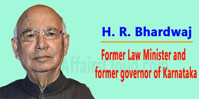Former Law Minister and former governor of Karnataka new