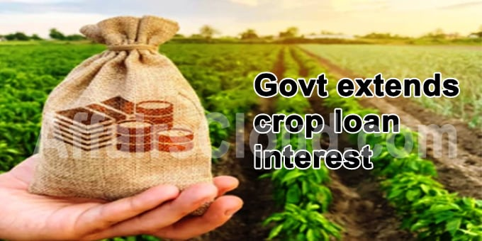 Govt extends crop loan interest