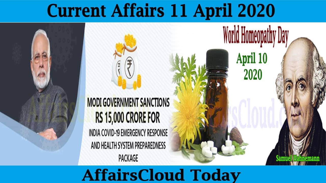 Current Affairs April 11 2020